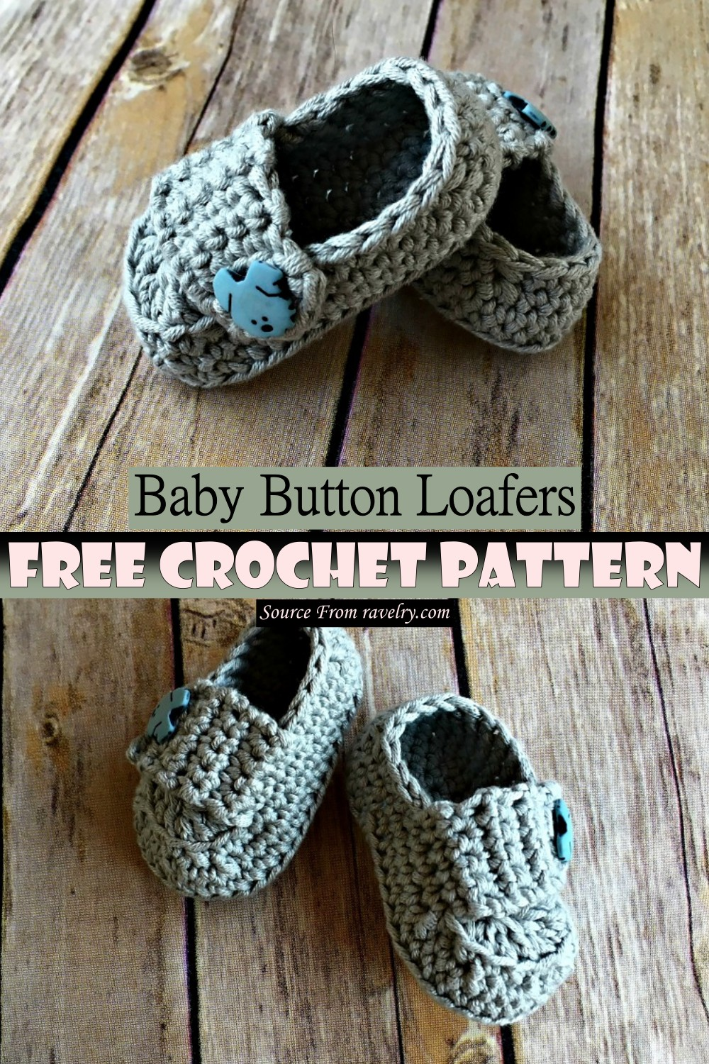 Crochet Baby Button Loafers Pattern