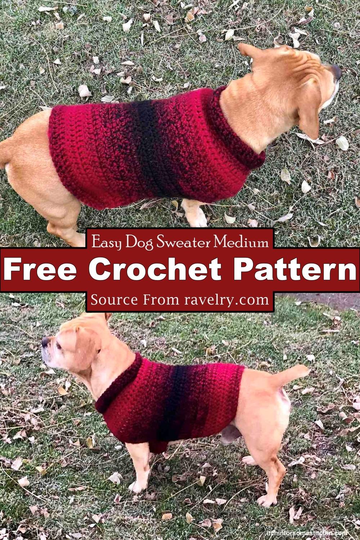 Crochet Easy Dog Sweater Medium Pattern