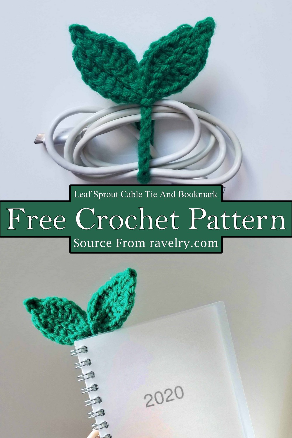 Crochet Leaf Sprout Cable Tie And Bookmark Pattern