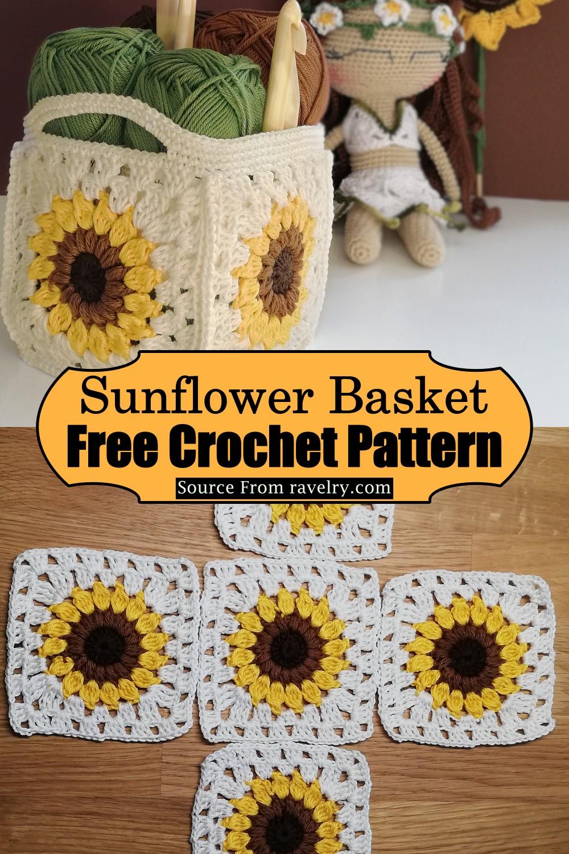 Crochet Sunflower Basket Pattern