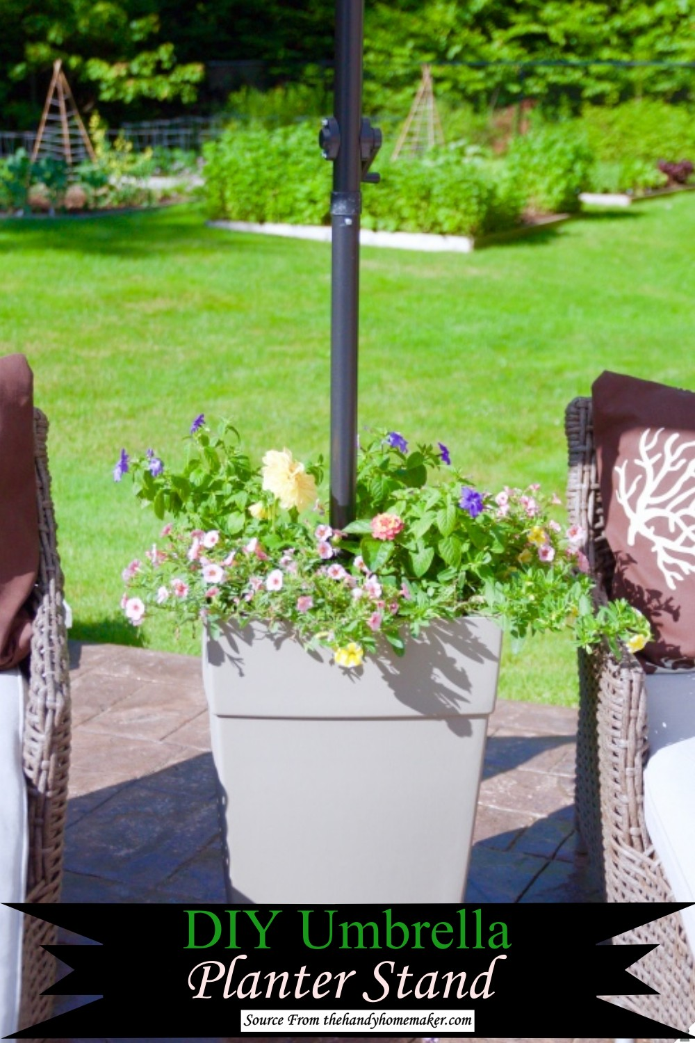 Parasol Stand Doubled as planter