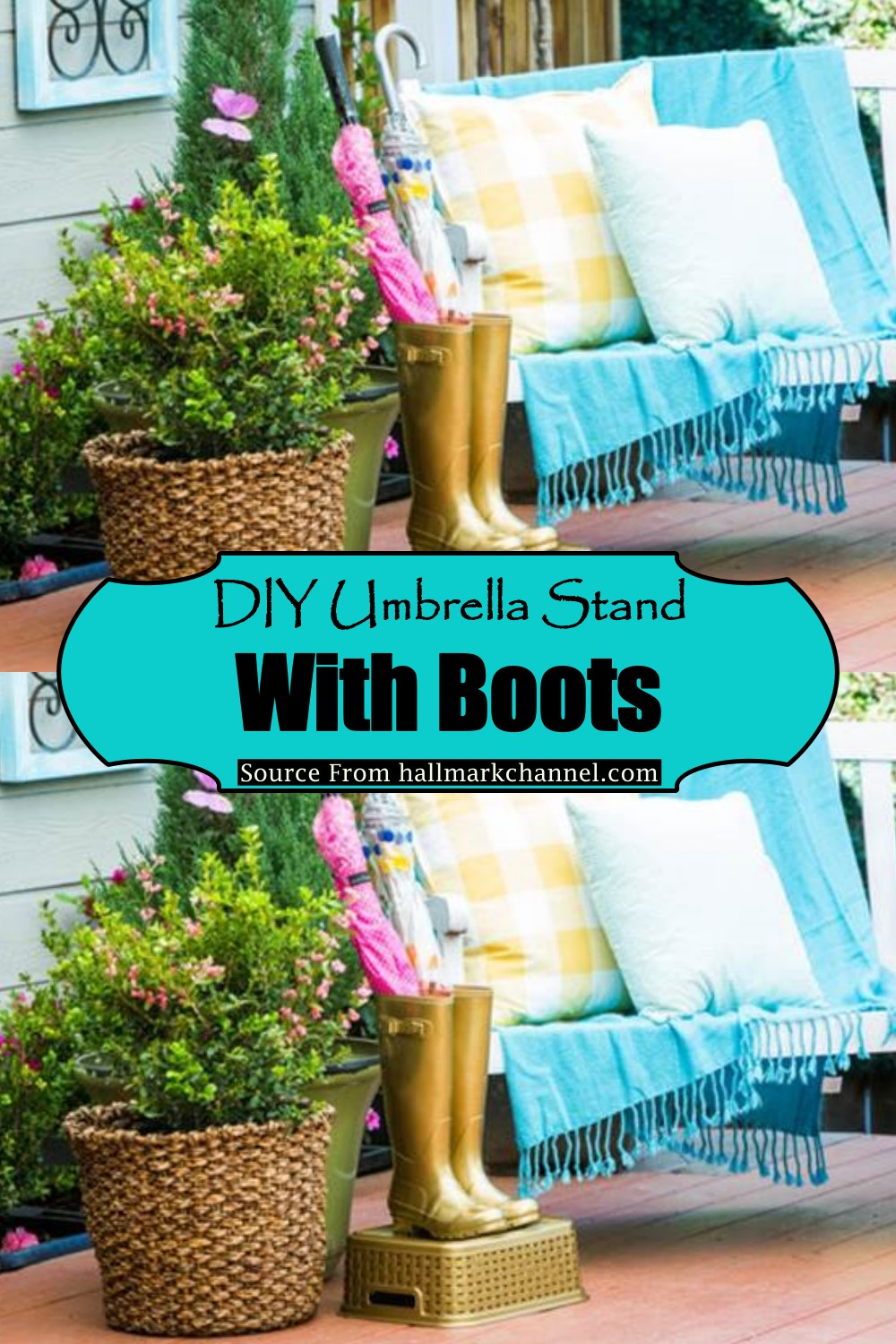 DIY Umbrella Stand With Boots